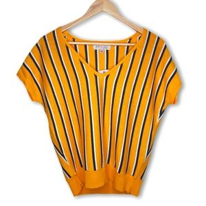 Yellow Striped Philosophy Sweater Shirt V-Neck NWT
